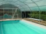 Abris de piscine sous structure métallique Pretamo, hiver et été
